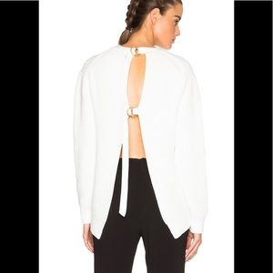 Alexander Wang White Open Back Pullover Sweater